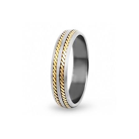 Кольцо из титана с желтым золотом полированное