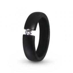 Кольцо из черного титана с бриллиантом Т4370