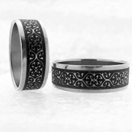Кольцо титановое с православным узором
