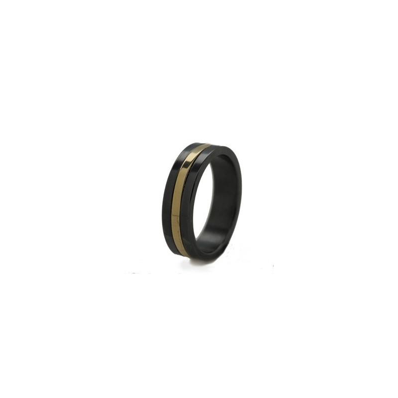 Кольцо из черного титана с желтым или белым золотом