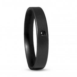 Кольцо из черного титана с черным бриллиантом Т4312