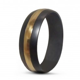 Кольцо из черного титана с желтым золотом