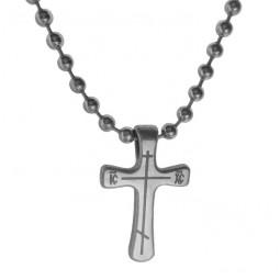 Комплект - крест Т57 и цепь титановая шарик 3 мм